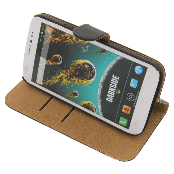 etui f wiko c t en noir style livre pied housse pour t l phone mobile ebay. Black Bedroom Furniture Sets. Home Design Ideas